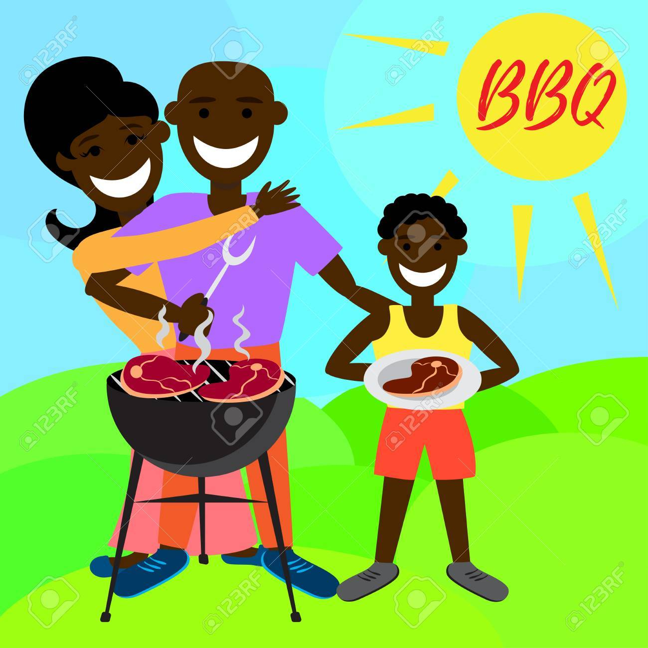 Family with one child, a son. african-american family. african ethnic  people. white background. flat vector illustration.