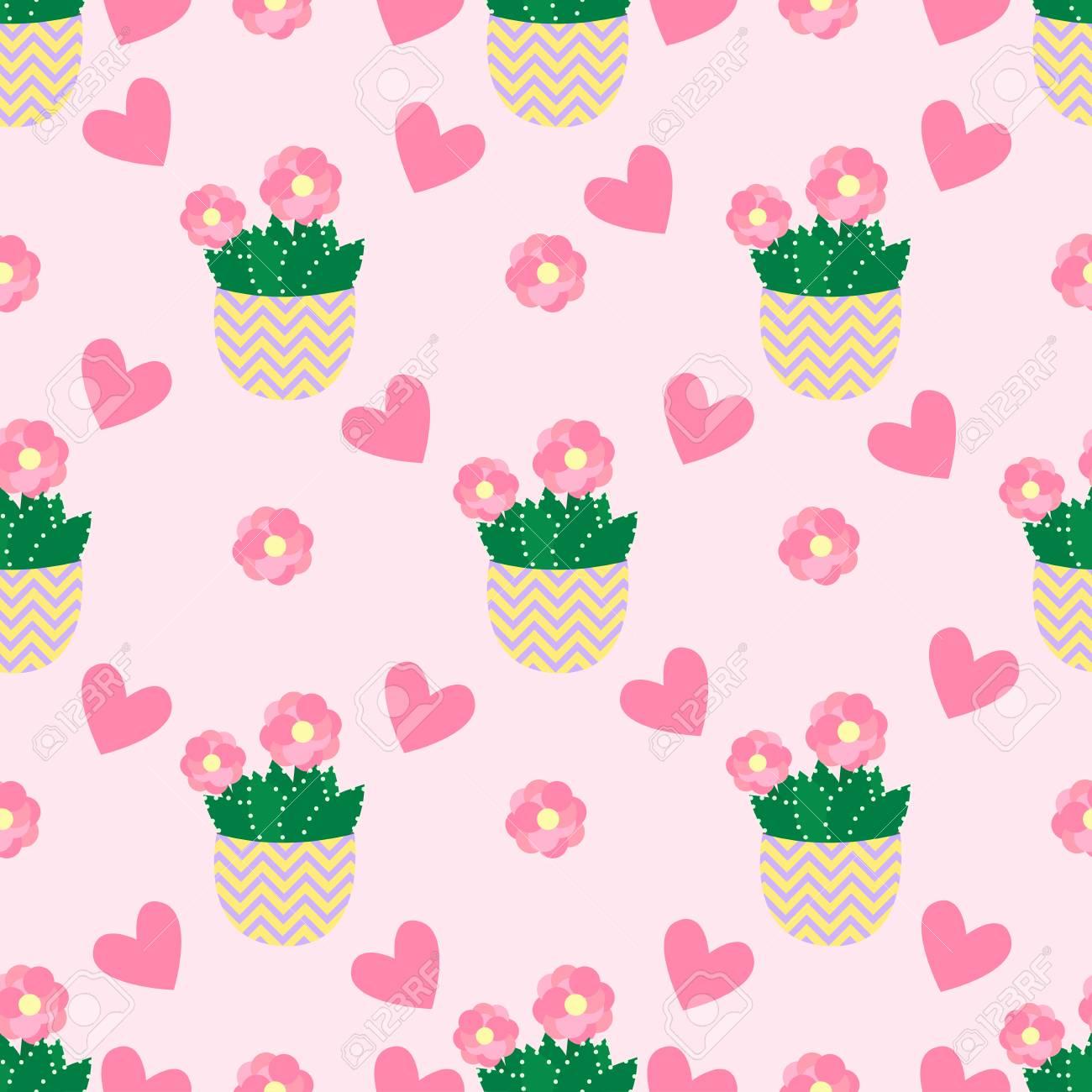 かわいいサボテン植木鉢かわいいサボテンとのシームレスなパターン