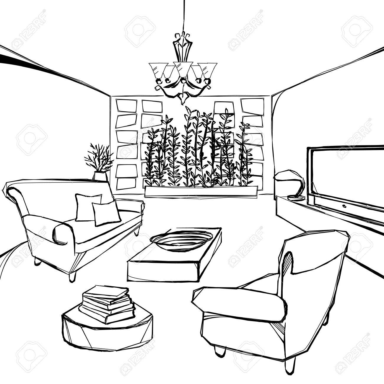 A Great Living Room Sketch Royalty Free Cliparts, Vectors, And Stock ...