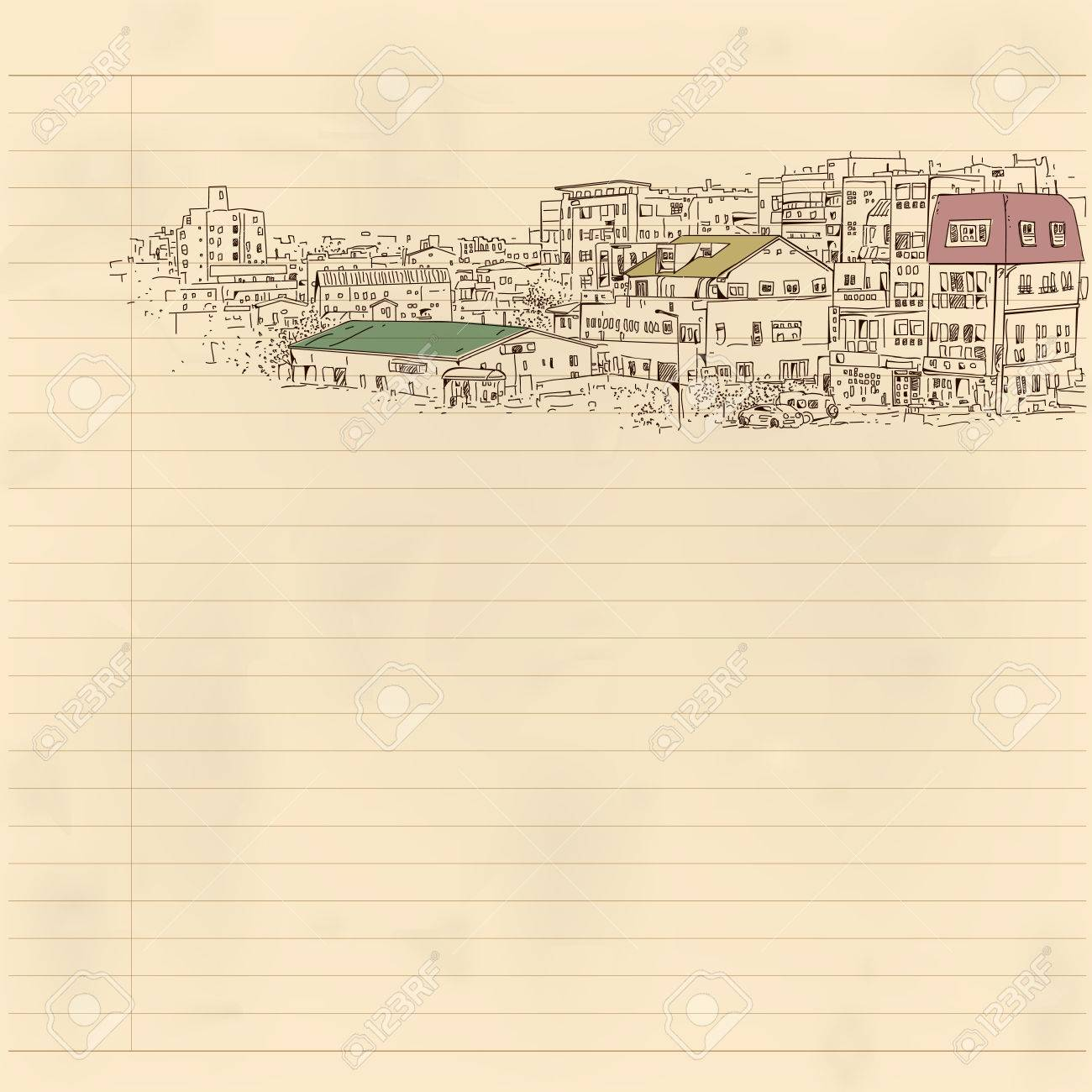 Distant Cityscape Drawing