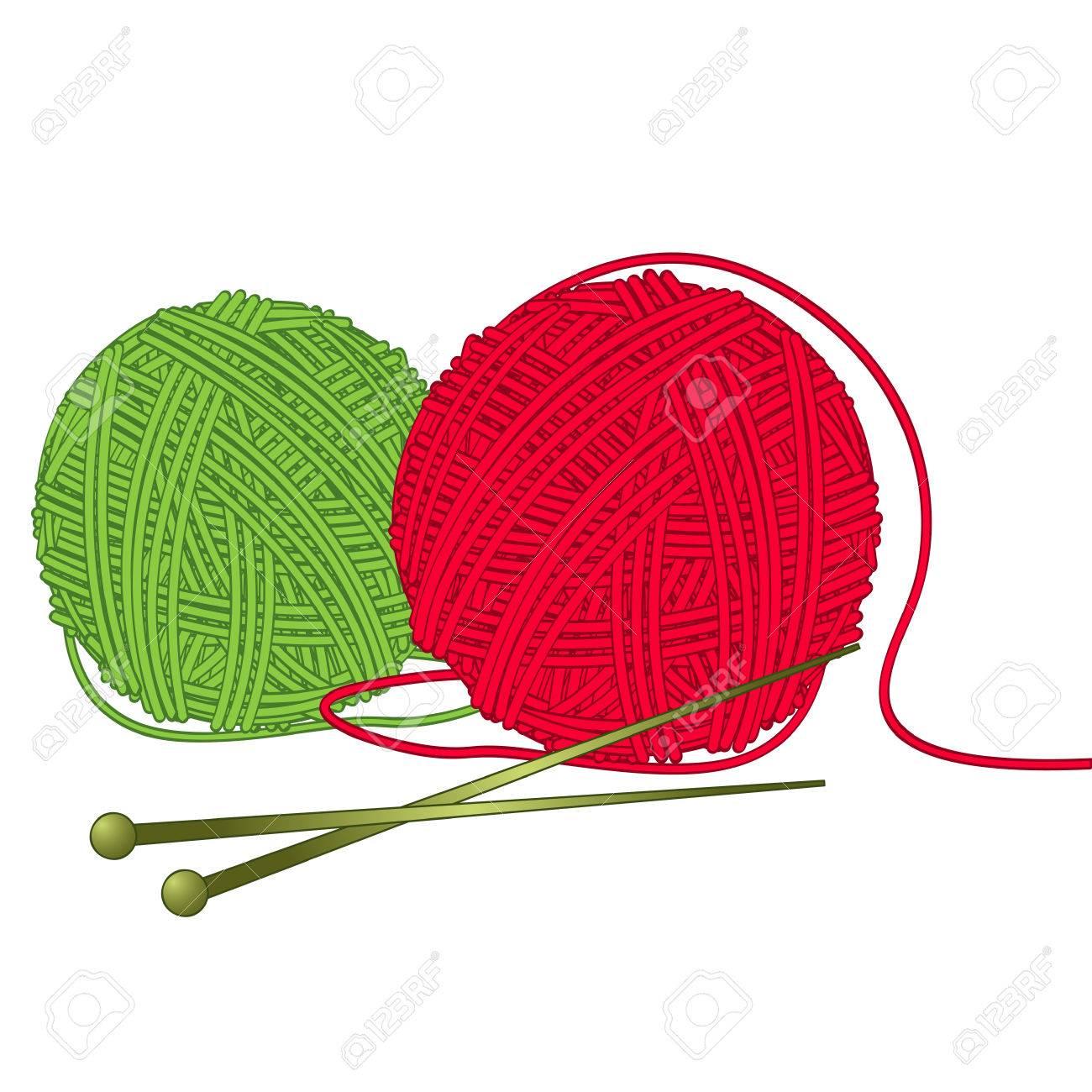 knitting wool, red and green yarn needle