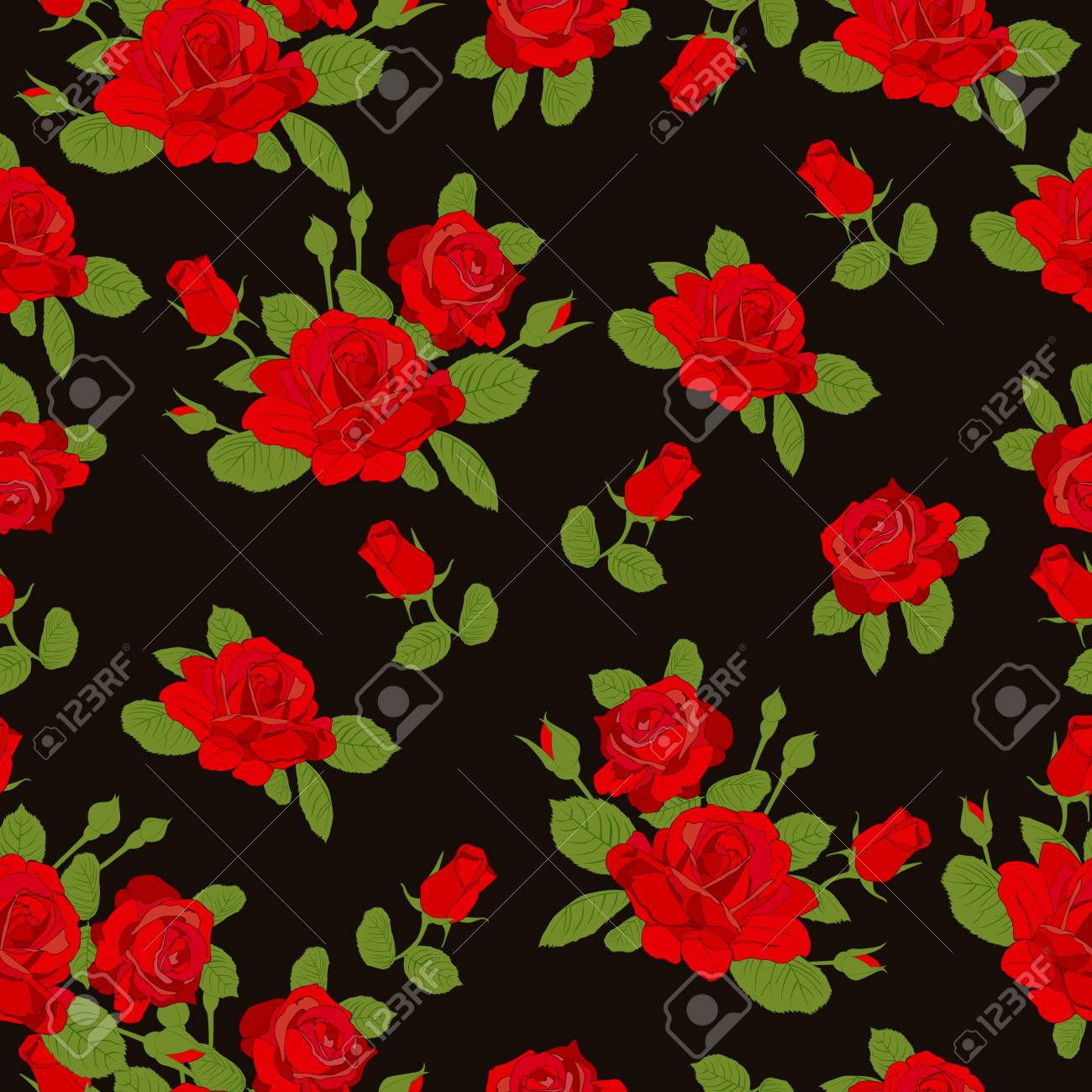 Red Rose Flower Pattern On Black Background Red Rose Floral