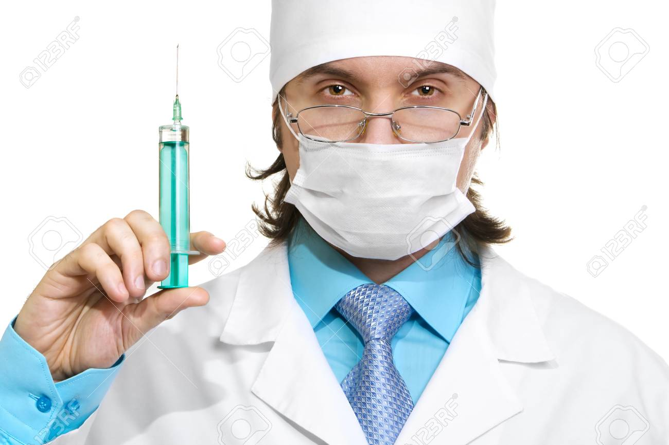 doctor in a mask looking isolated on white background Stock Photo - 12191641
