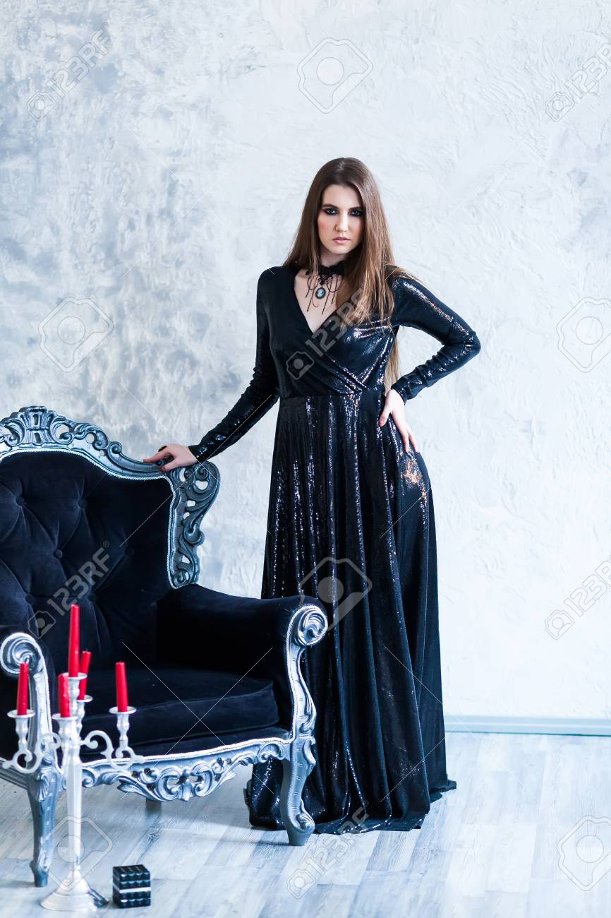 Portrait of a gorgeous young glamour beautiful woman vampire baroque  aristocrat witch in black d6030ca2c