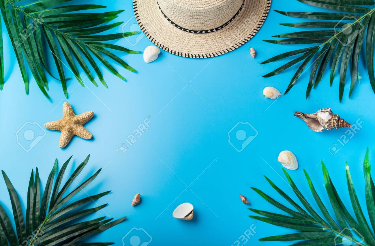 9f4106d8 Traveler accessories, tropical palm leaf branches on blue background with  empty space for text.