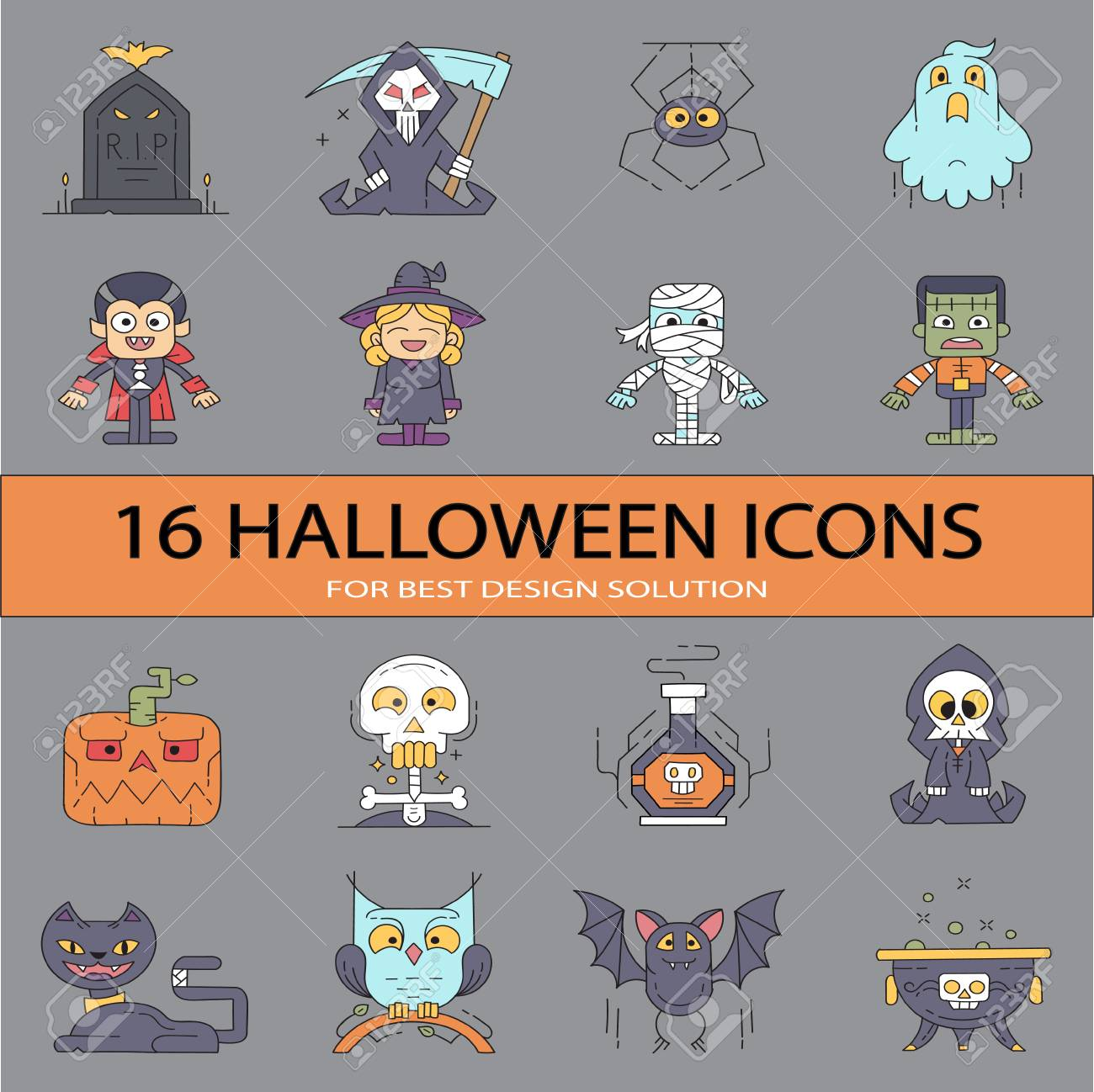 graphic regarding Planner Stickers Printable titled Halloween Flat Icons Huge Fastened! Preferred for planner stickers, printable..