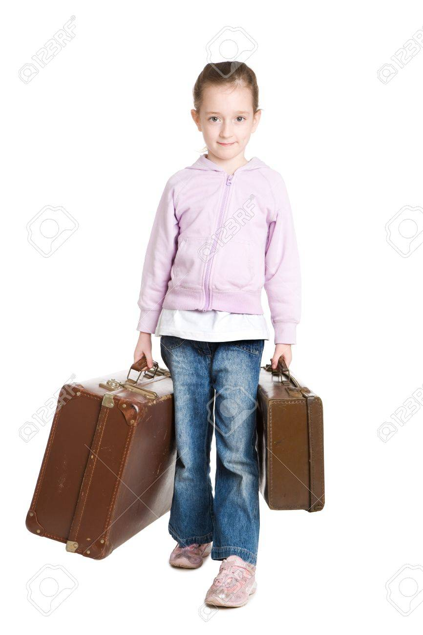 Child running away from home - Young Girl About To Run Away From Home With Her Suitcase Stock Photo 9088390