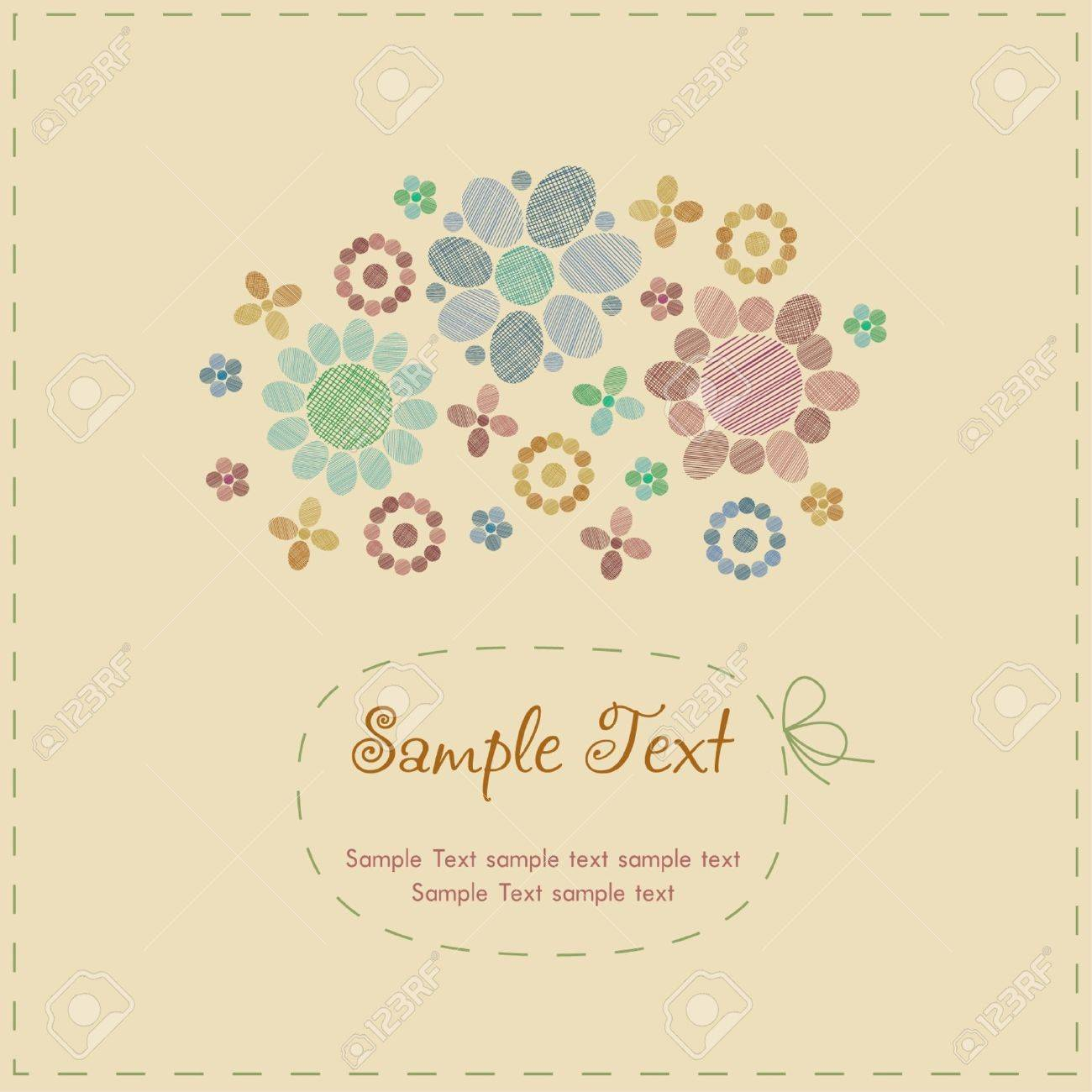 Sample cute romantic vintage greeting card with stylized flowers sample cute romantic vintage greeting card with stylized flowers round decorative elements and place for m4hsunfo