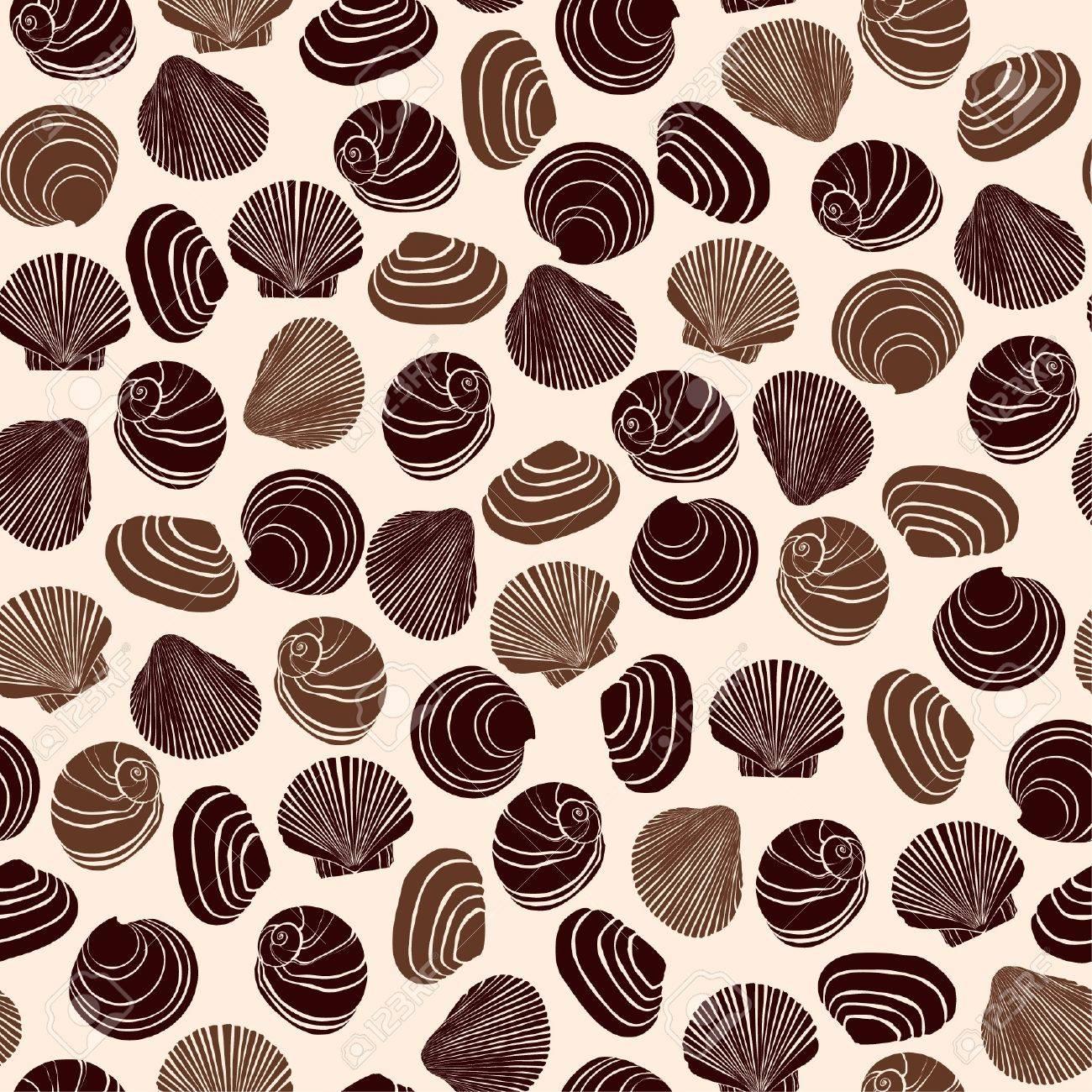 seamless retro texture with seashells endless sea pattern