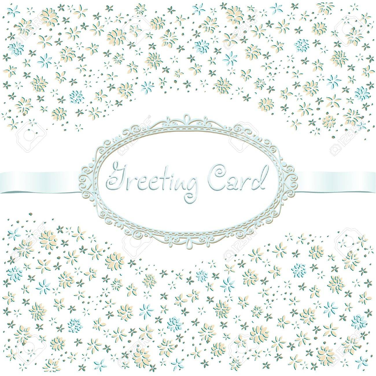 Vintage Romantic Greeting Card With Flowers, Ribbon And Text ...