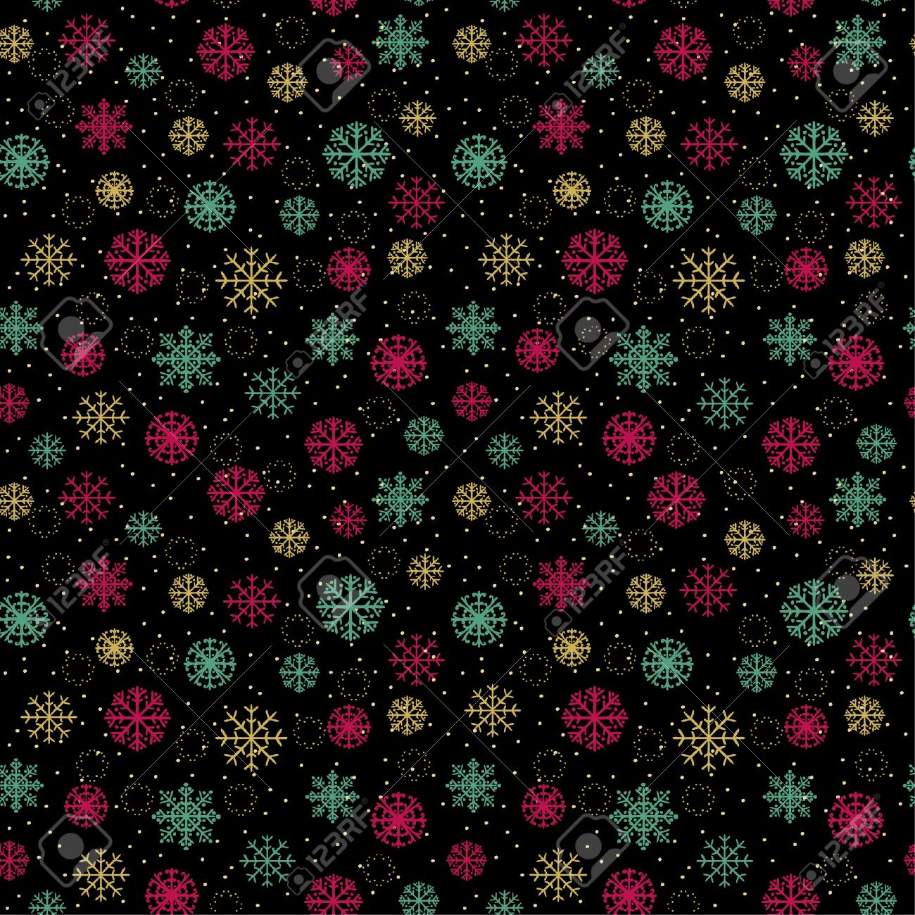 Decorative colorful seamless pattern with ornamental snowflakes  Endless festive texture  Template for design wrapping paper, textile, package, greeting cards Stock Vector - 16641614