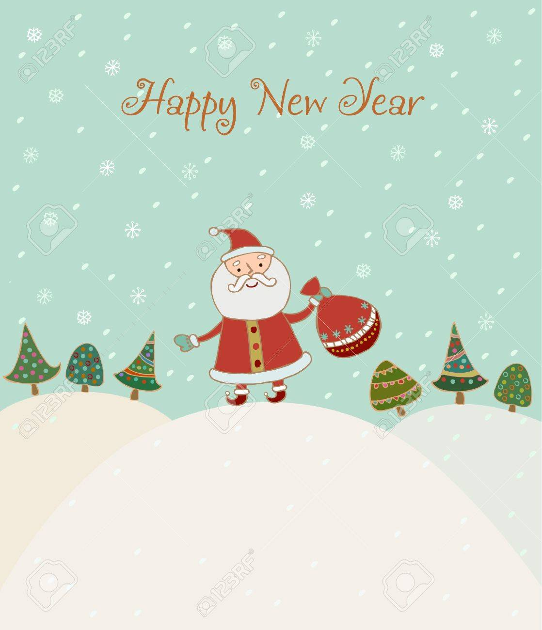 Illustrated Hand Drawn New Year Greeting Card With Sample Text – New Year Greeting Card Template