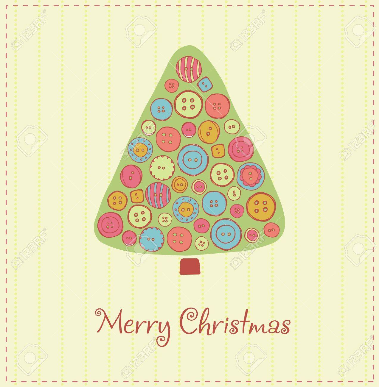 Illustrated template for design Christmas card with festive fir tree decorated with colorful buttons and sample text Stock Vector - 16641541
