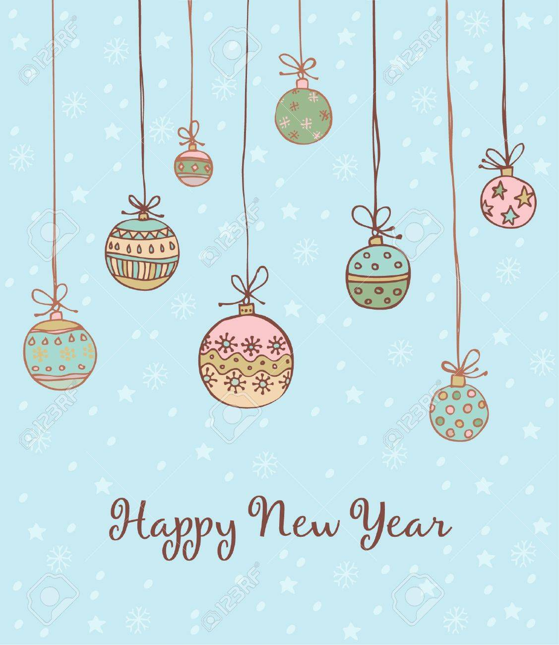 Illustrated text background with Christmas decorative balls  Template for design and decoration New Year s greeting card Stock Vector - 16803654
