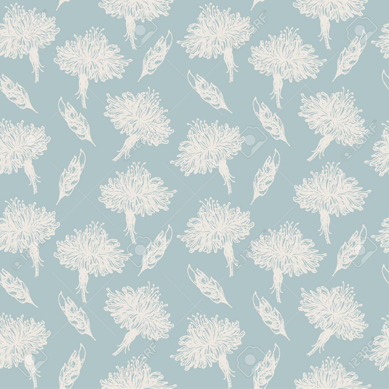 seamless light old pattern with hand drawn gorgeous flowers and