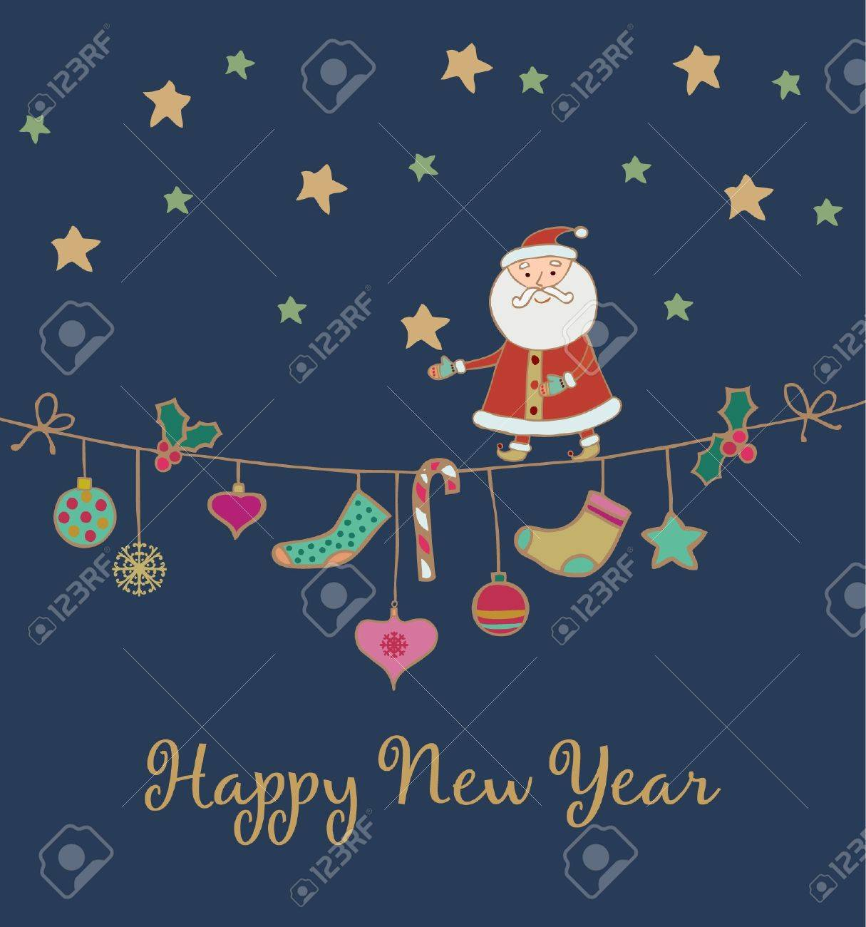 New Year s greeting card with hand drawn illustration  Template foe design  Festive background with place foe your text Stock Vector - 16944278