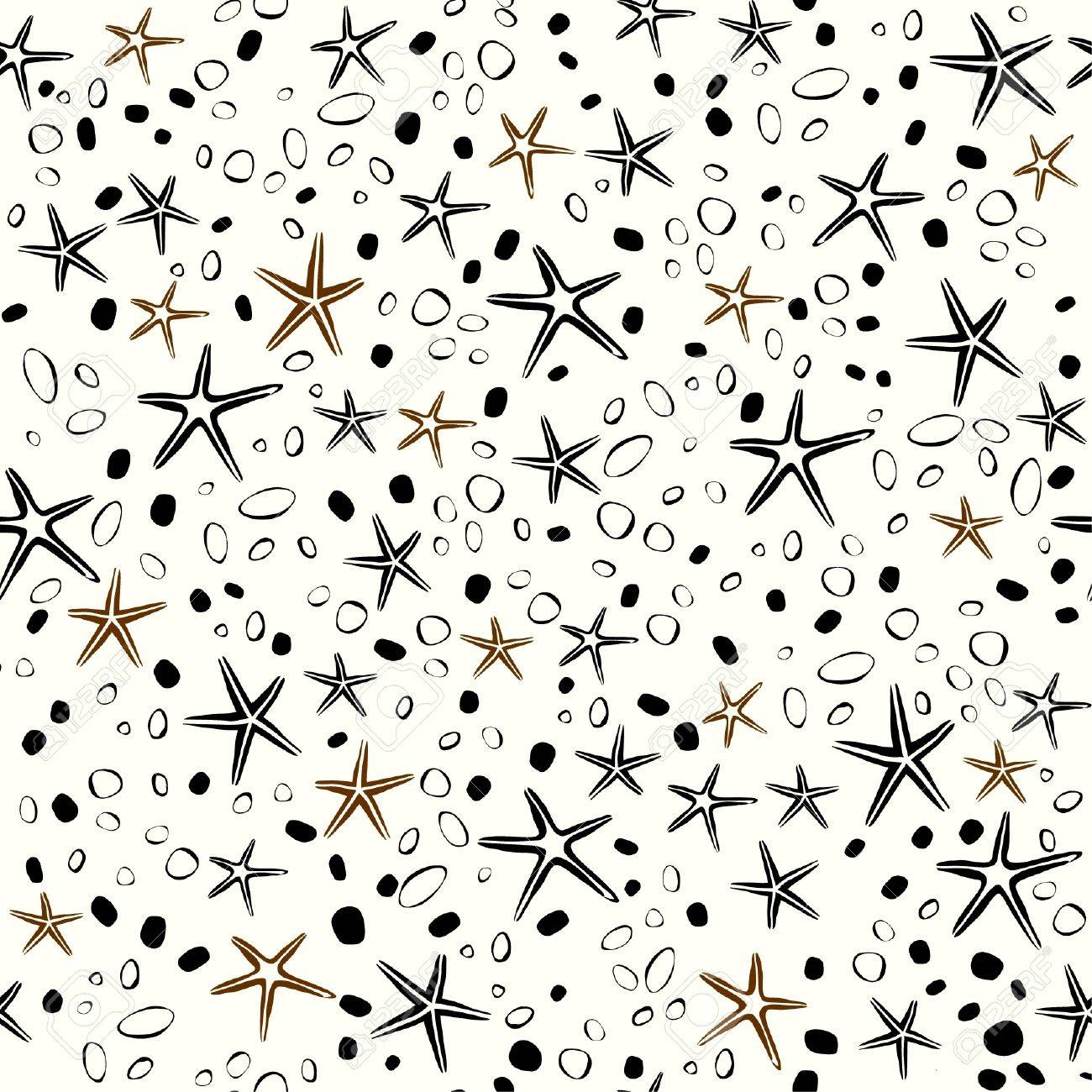 Seamless decorative hand drawn texture  Endless pattern with stars, bubbles, stones  Template for design and decoration Stock Vector - 17272535