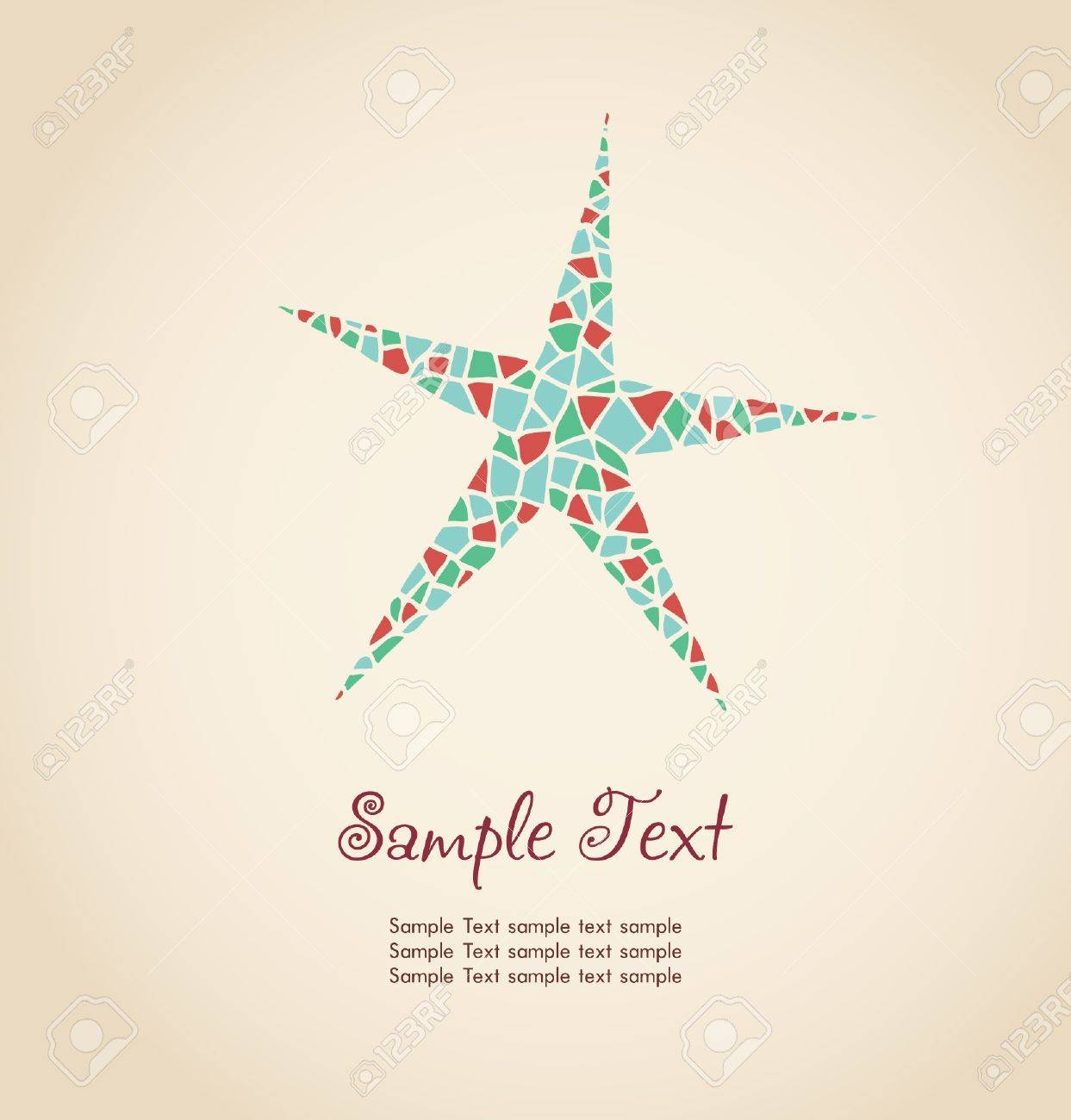Decorative stylized colorful star  Hand drawn ornamental illustration with place for your text  Template for design Stock Vector - 17272523