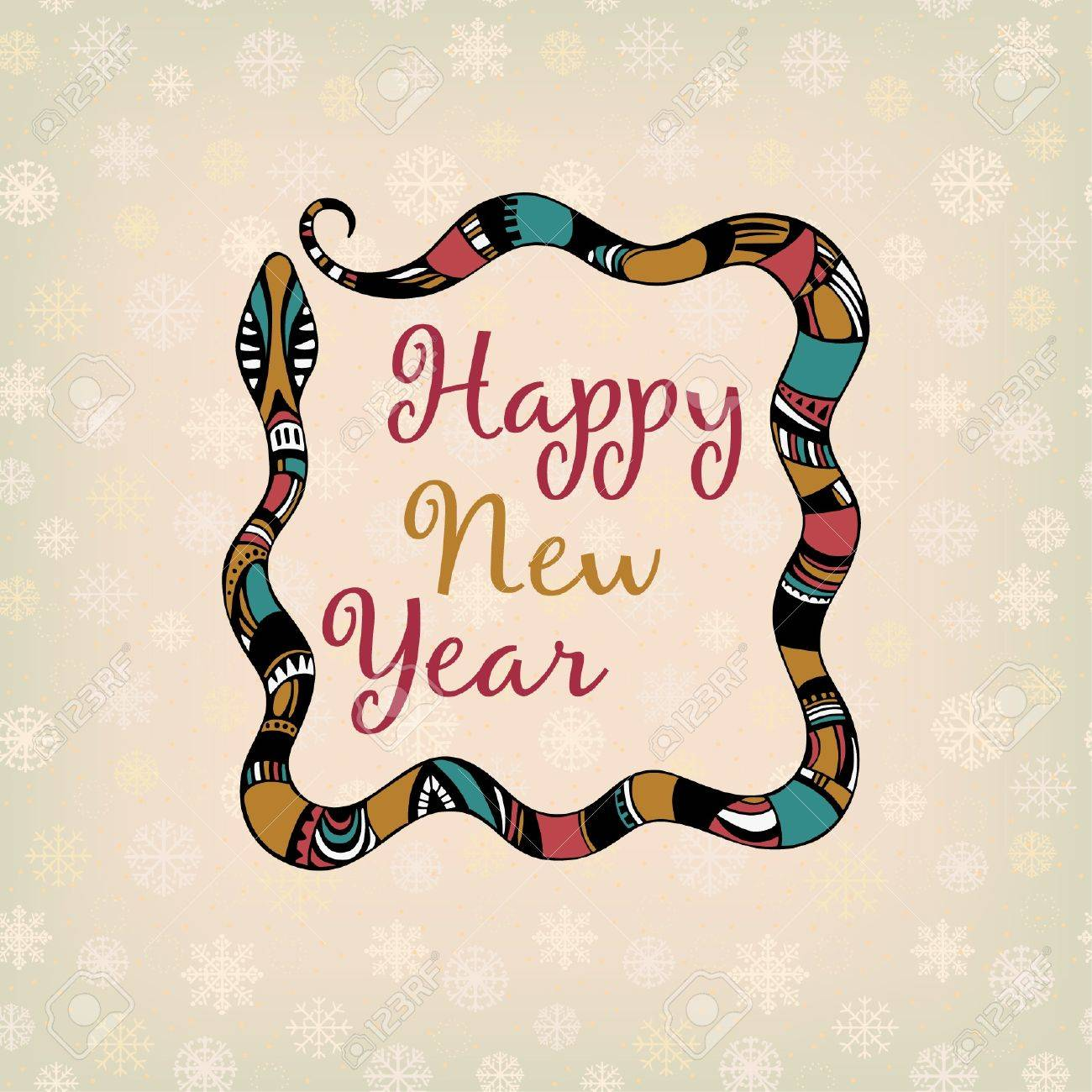 Ornamental illustration with snake and sample text for design and decoration New Year  s greeting card  Text background with place for your text Stock Vector - 17272570