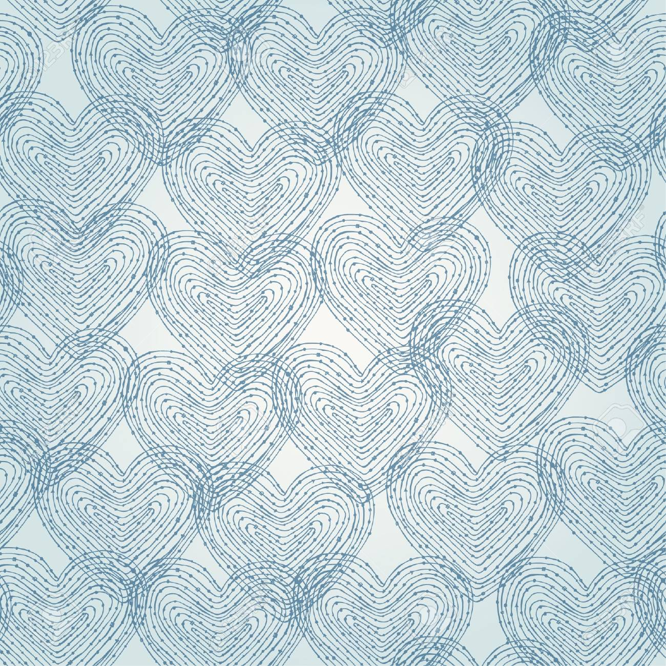 Neutral seamless texture with blue linear decorative hearts  Pattern for design and decoration Stock Vector - 17272583