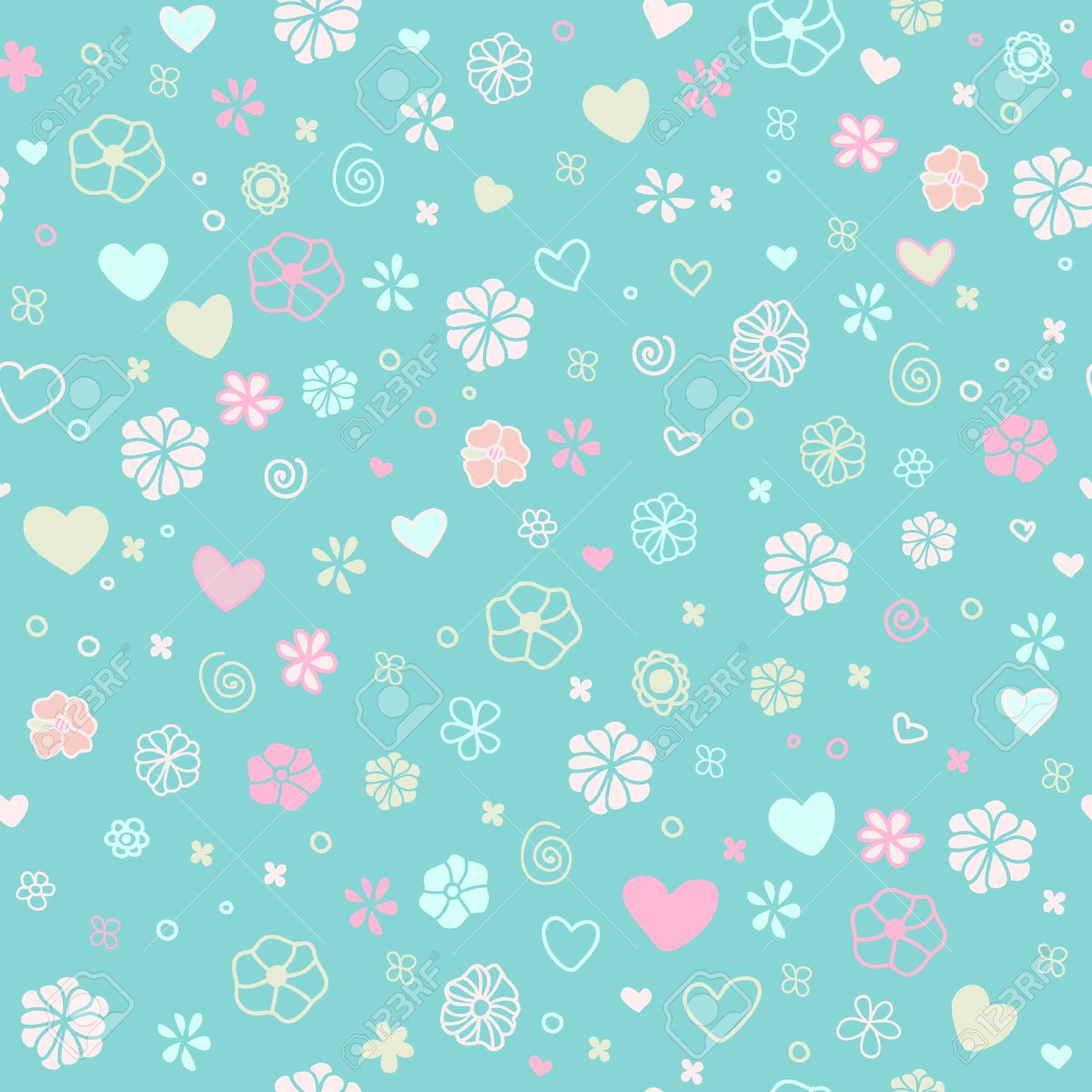 Seamless decorative floral texture cute pattern with spiral seamless decorative floral texture cute pattern with spiral elements doodle hearts and petals template for voltagebd Gallery