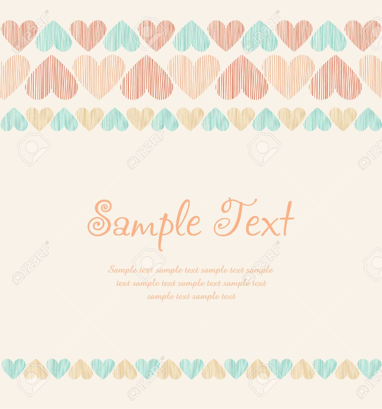 Romantic ornamental background with linear hearts and place for your text  Template for greeting card Stock Vector - 18089128