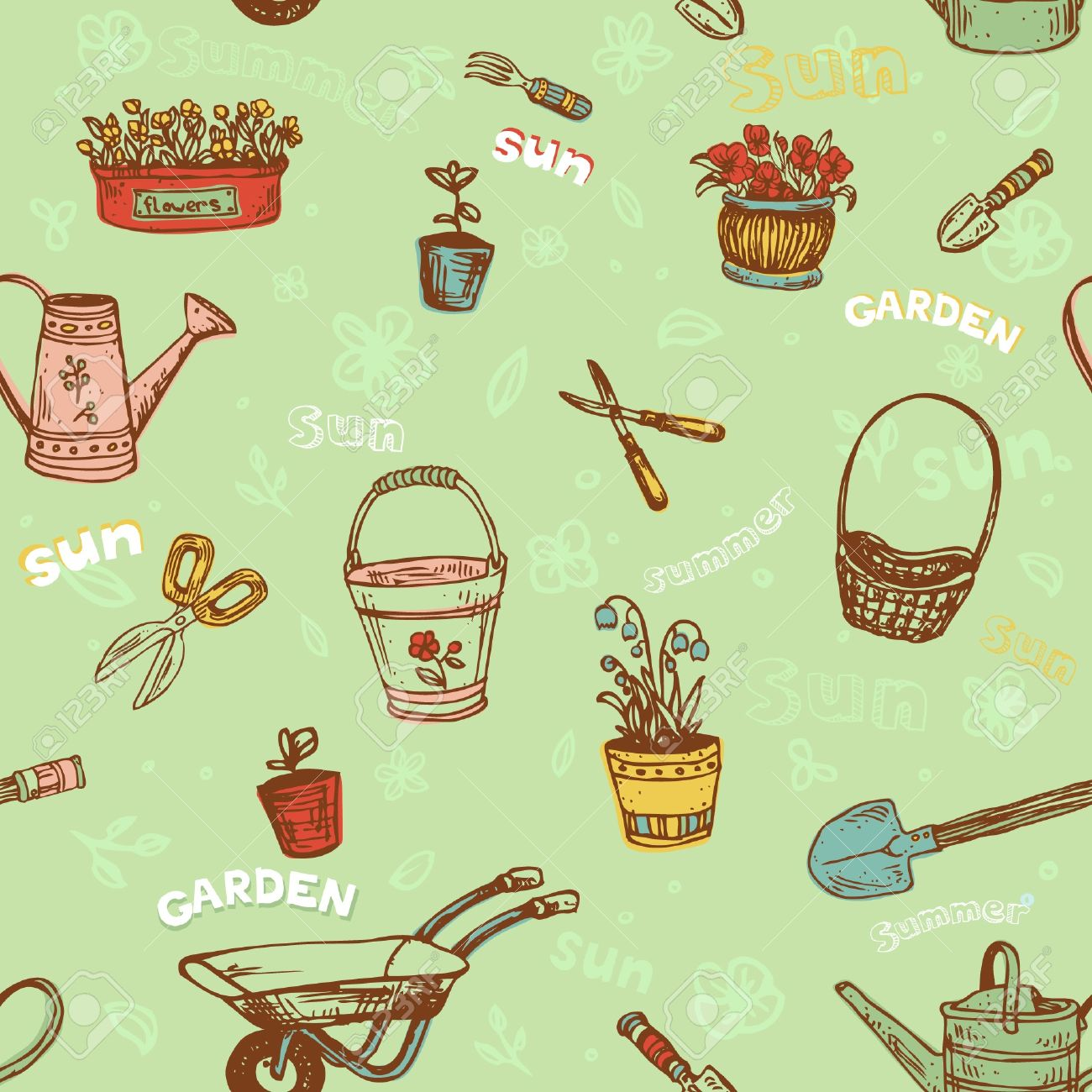 Seamless Decorative Hand Drawn Pattern With Garden Tools Endless ...