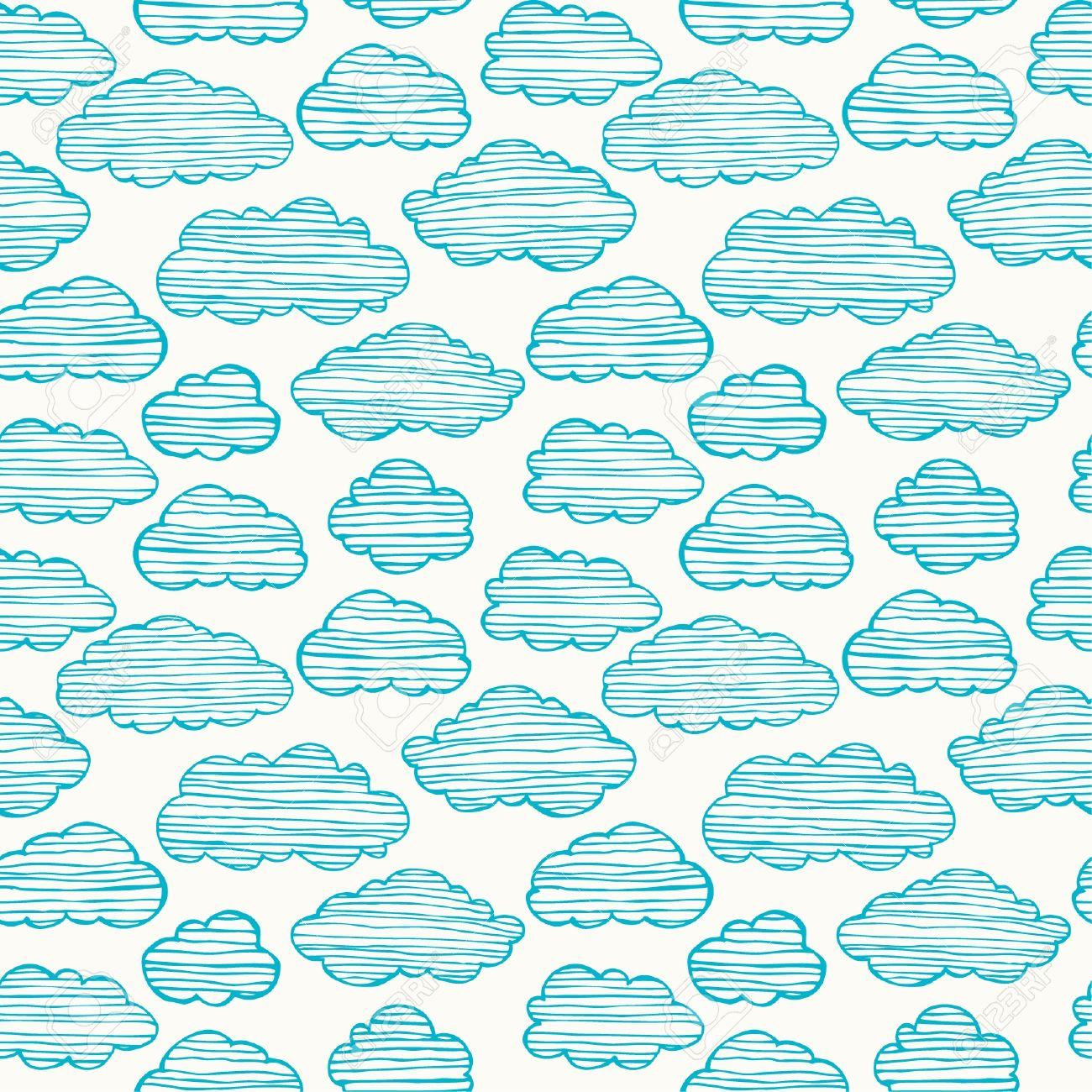cute hand drawn stylized seamless cloudy texture endless pattern