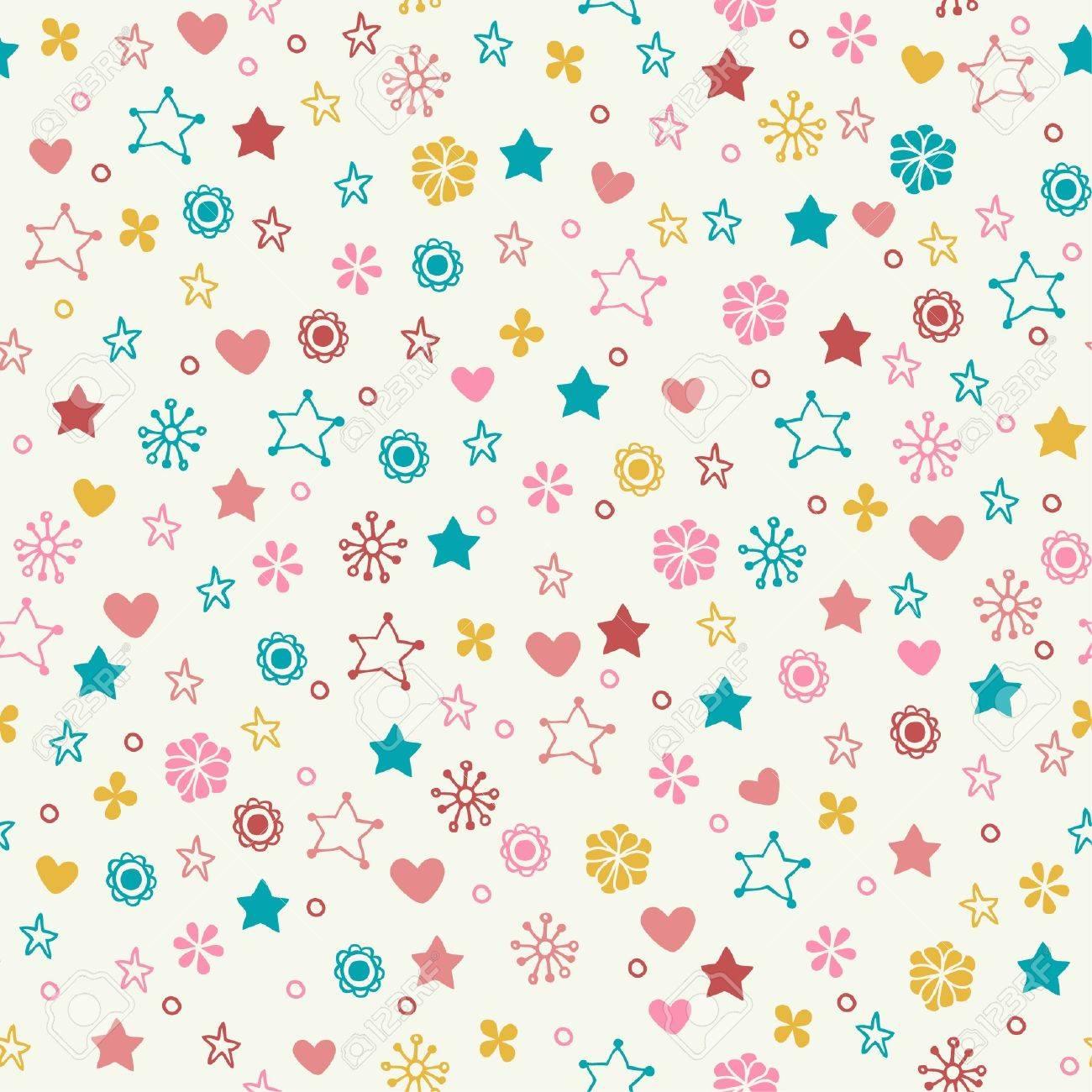 Modelo Del Doodle Transparente Con Flores De Colores Estrellas