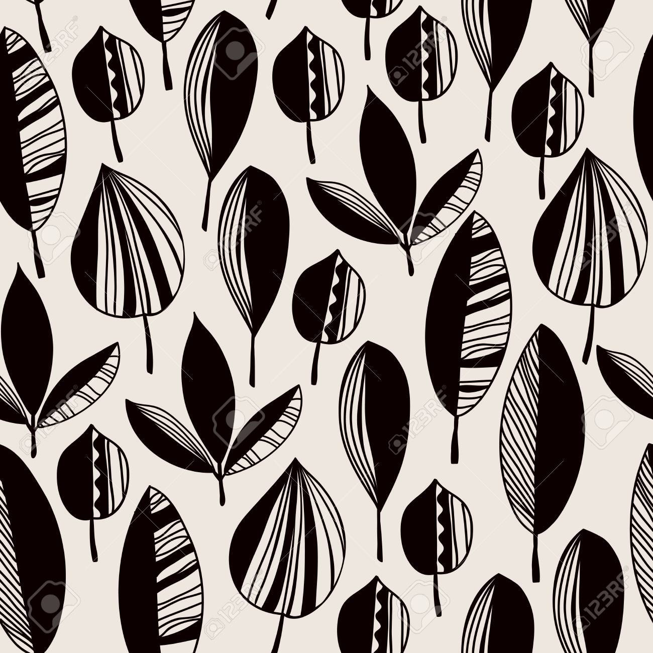 Graphic black and white endless texture with ornamental leaves Stock Vector - 22601696