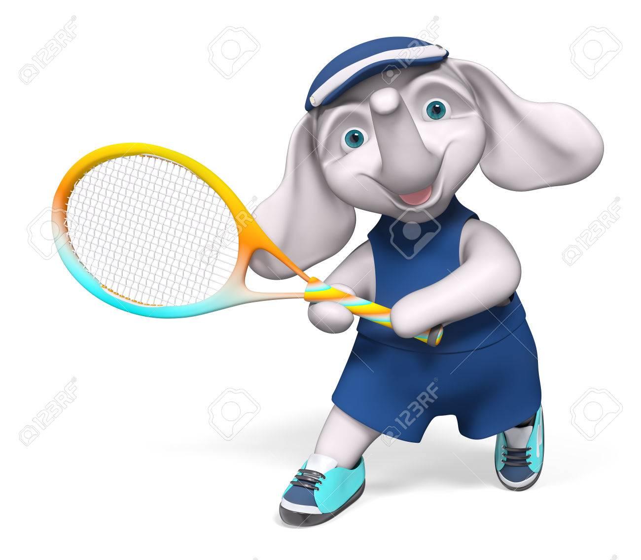 Cartoon Character Elephant Holding Tennis Racket 3d Rendering