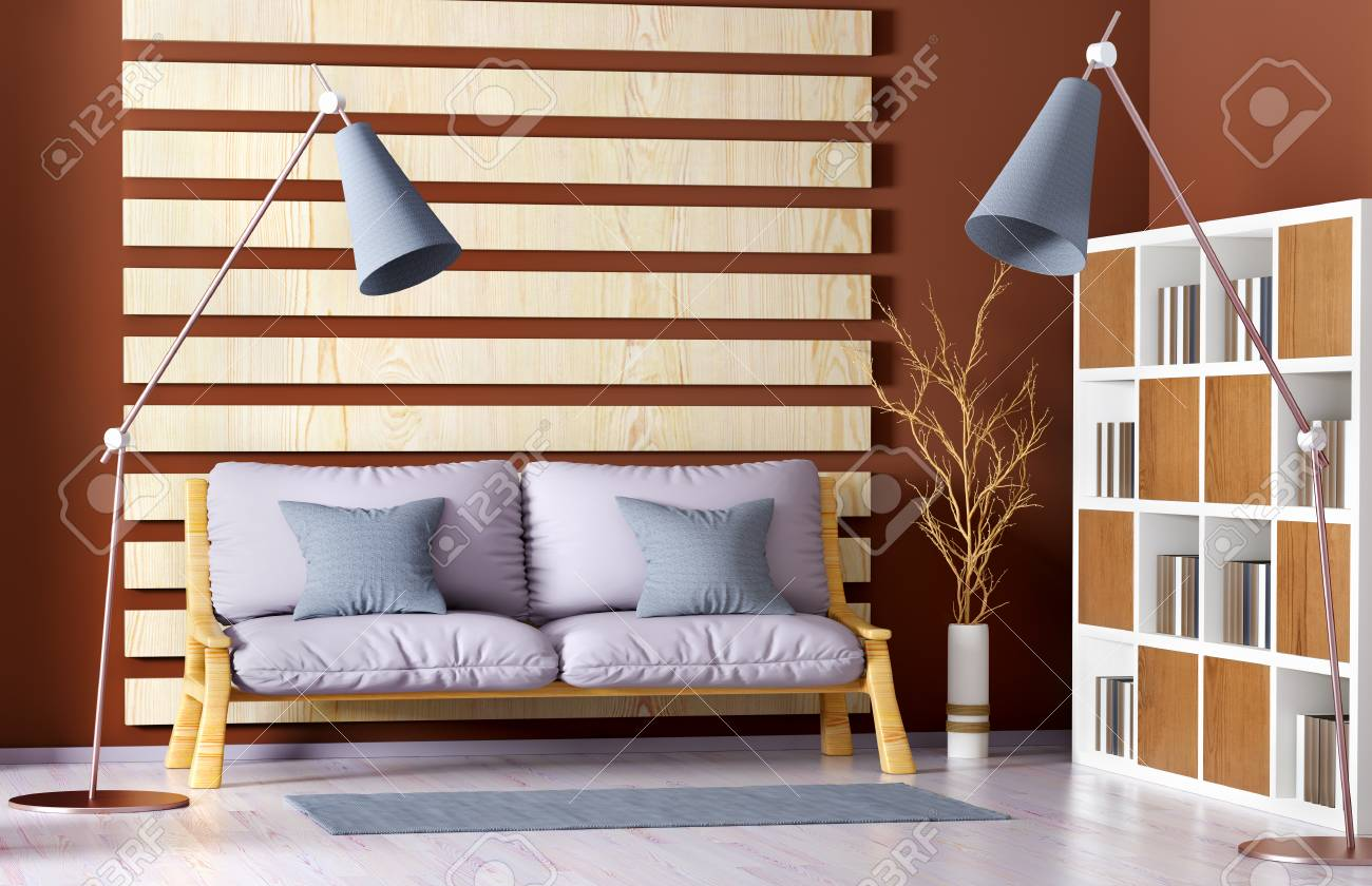 Interior Design Of Modern Living Room With Sofa Bookcase And