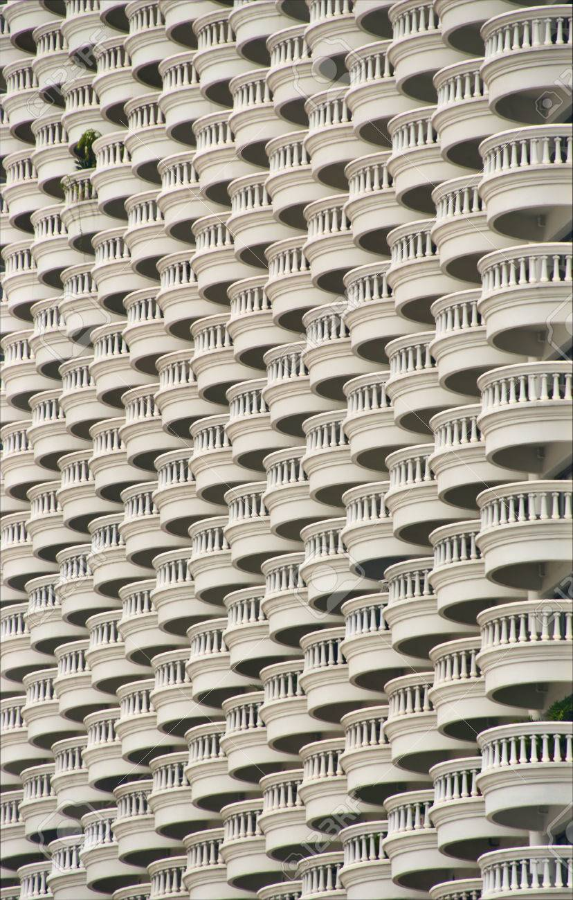 pattern of balconies in multi-storey hotel stock photo, picture