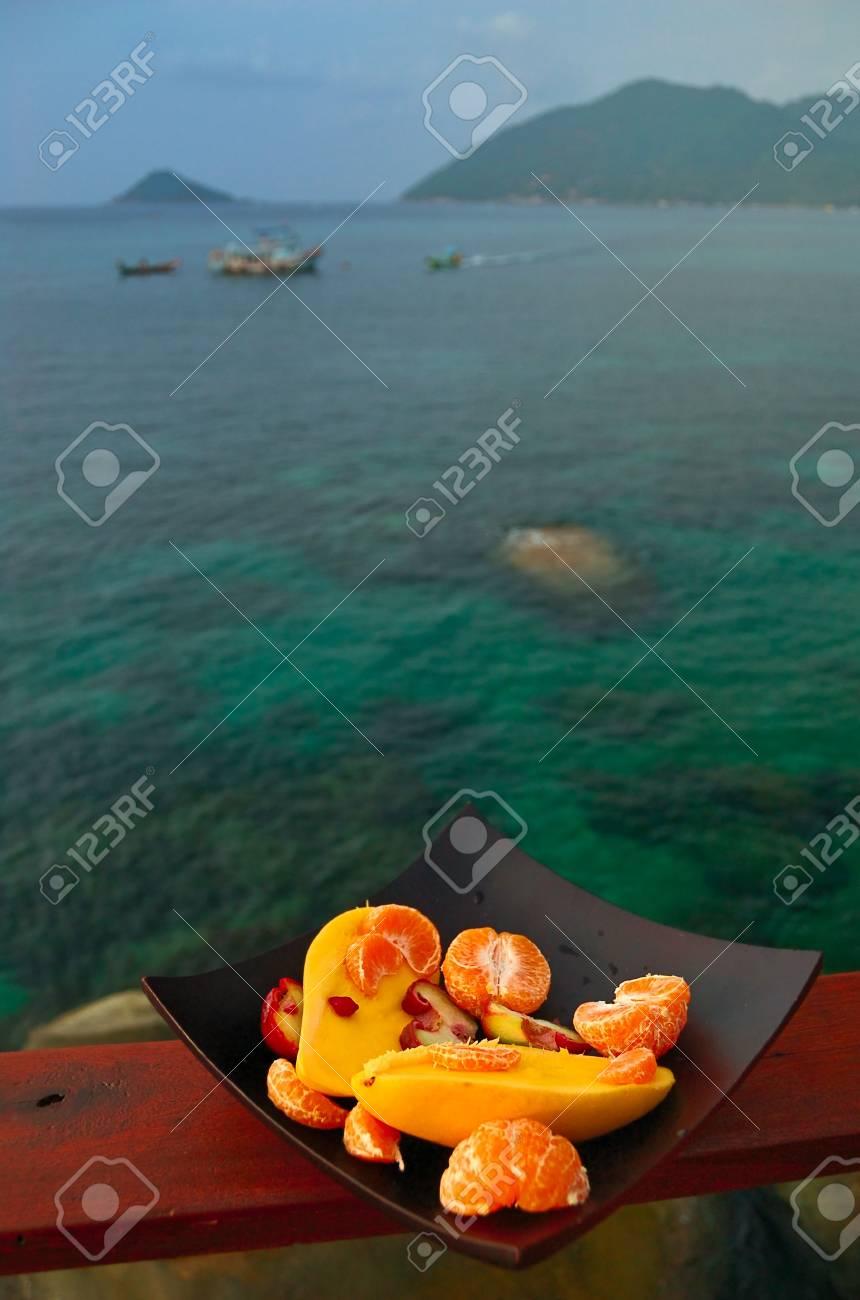 Exotic Fruitplate at seaside background Stock Photo - 2589935