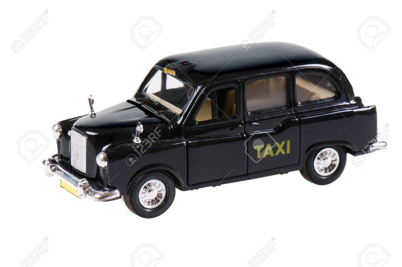 A Model Car Fashioned After An Old-fashioned Taxi Cab Stock Photo ...