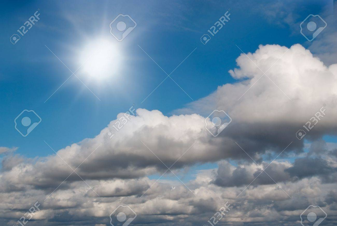Shining sun changing into stormy sky Stock Photo - 5953418