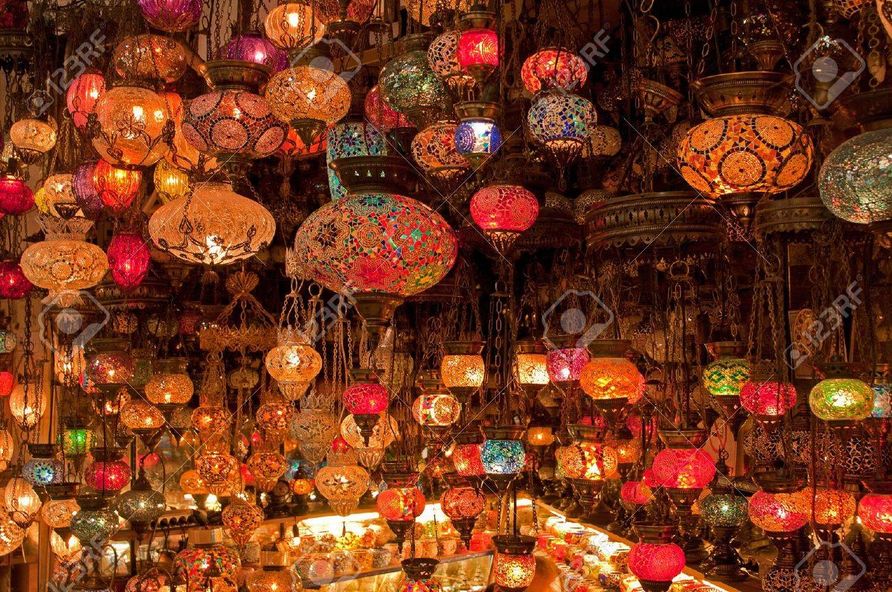 Stock Photo   Variety Of Turkish Lamps On Sale