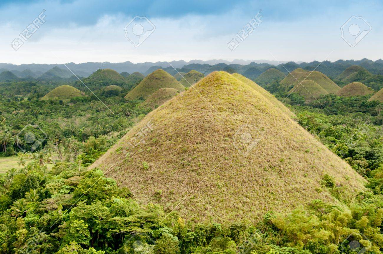 Chocolate Hills, A Natural Landmark Of Philippines Stock Photo ...