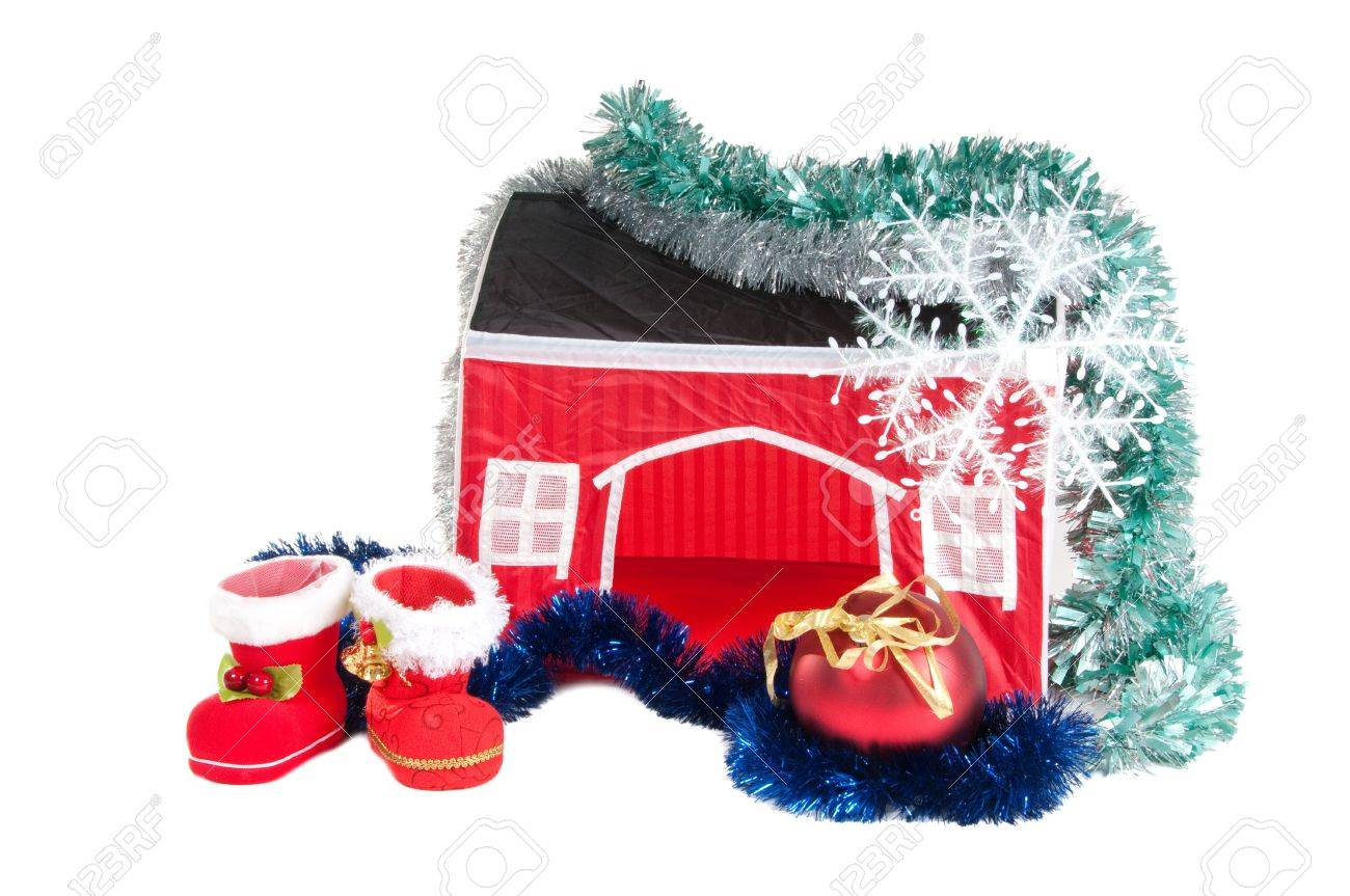 Christmas Ball Garland.Santa S Boots Christmas Ball Garland And A House