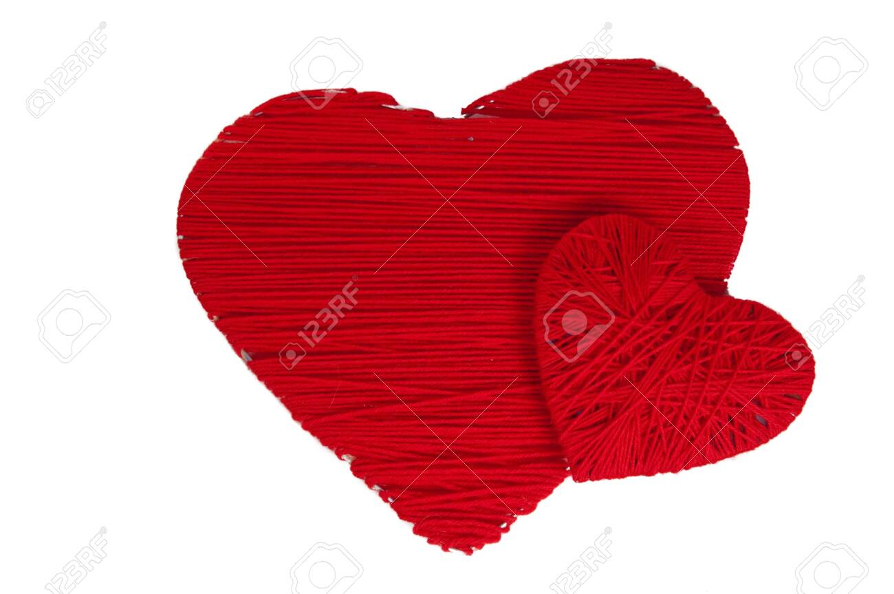 Two hand made red hearts Stock Photo - 8841844
