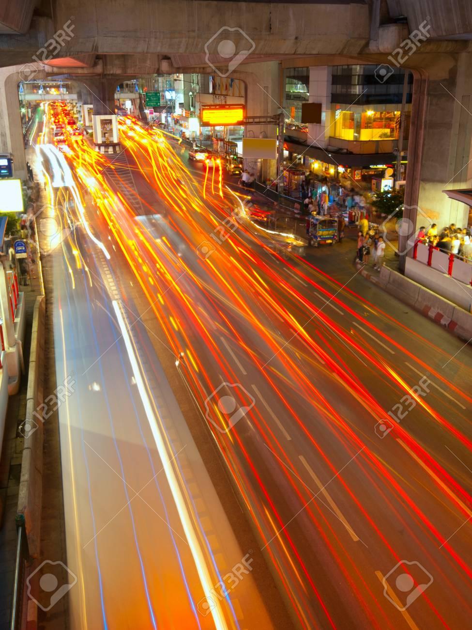 Light trails on a center street in Bangkok Stock Photo - 11519688