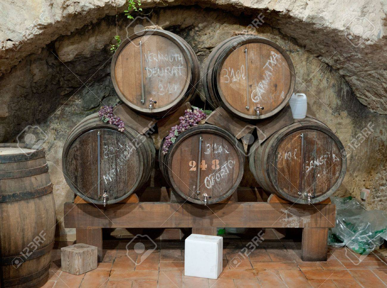 Wine barrels stacked in an old cellar, Canary island, Spain. Stock Photo - 11710335