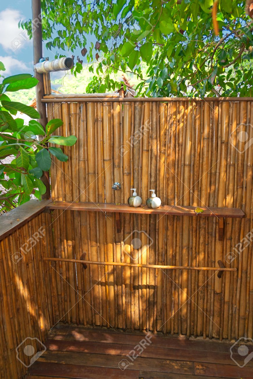 Beach shower in a bamboo hut Stock Photo - 11970474