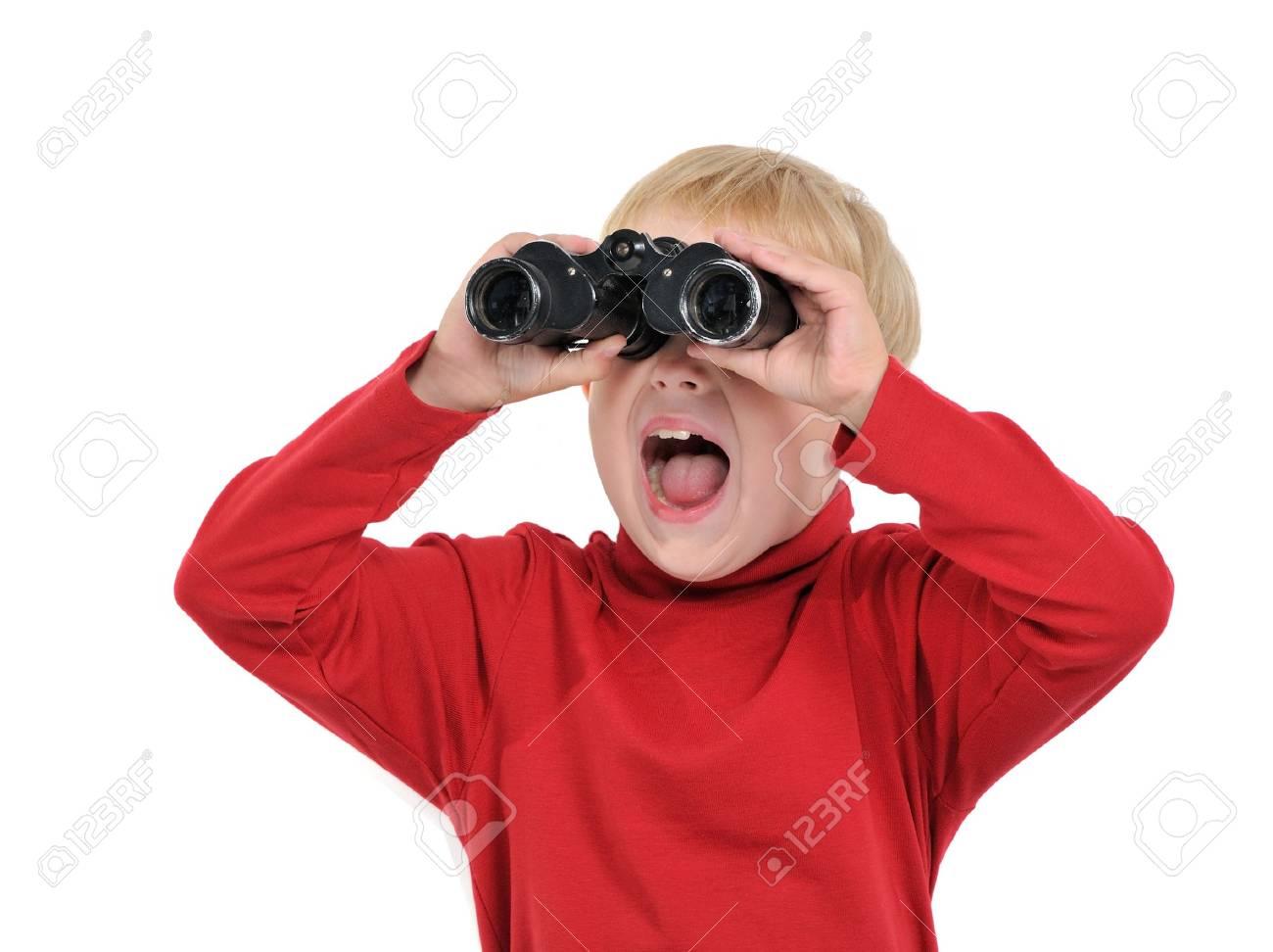 Happy boy with binoculars, isolated on white Stock Photo - 13904162