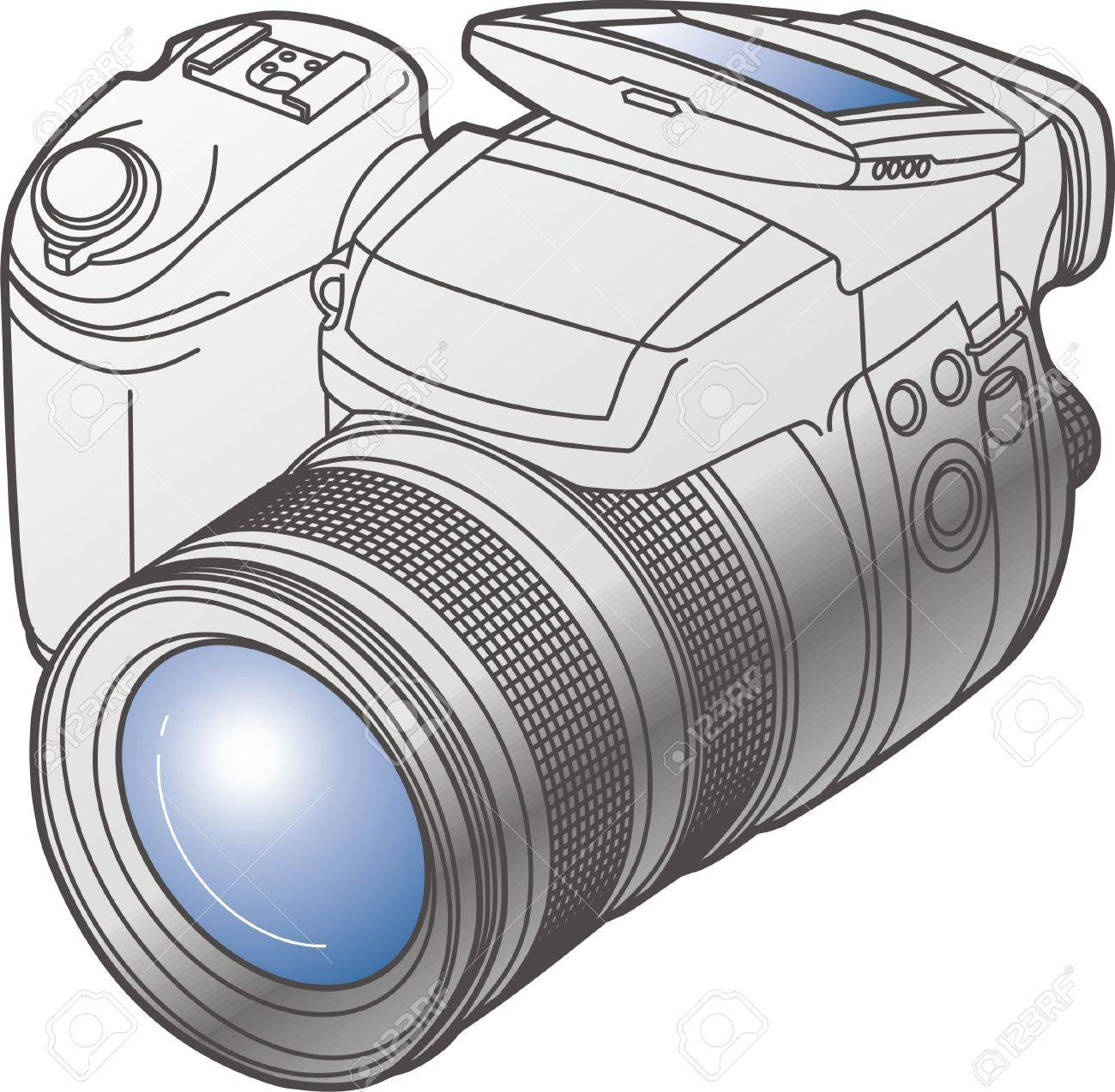 Modern Digital Camera In Vector Format Easy Repaint Royalty Free Cliparts Vectors And Stock Illustration Image 3746775