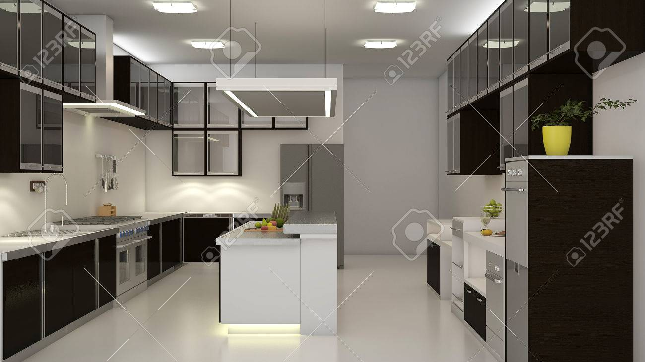 Modern Clean White Kitchen With Center Nook 3d Rendering Stock