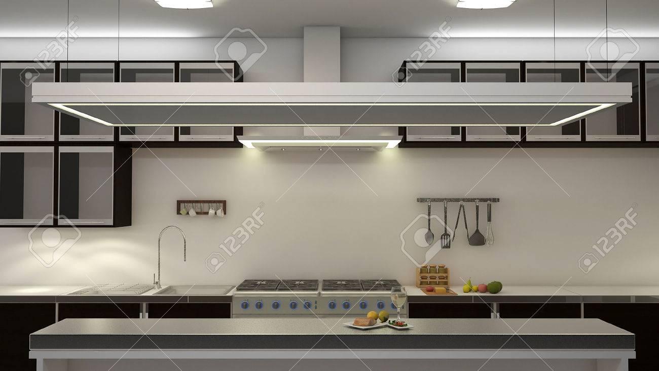 Moderne schone witte keuken met centrum hoekje. 3d rendering ...