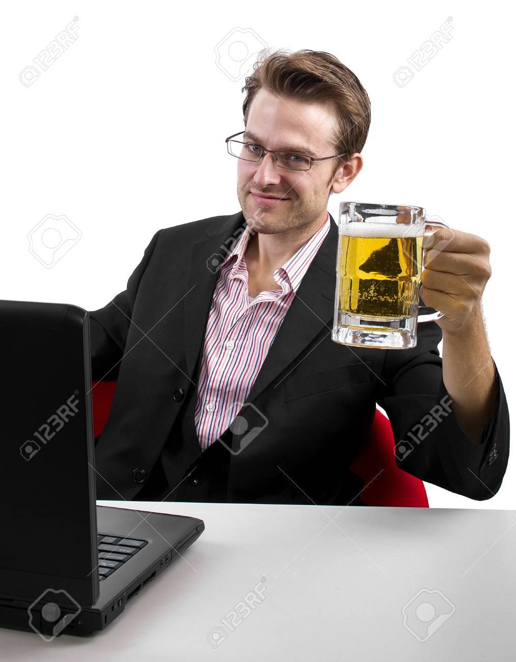 caucasian male using laptop on white background Stock Photo - 24249699