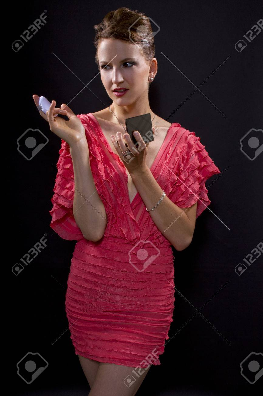 Young Caucasian Woman Applying Foundation Make Up With A Pad Stock Photo Picture And Royalty Free Image Image 24249924