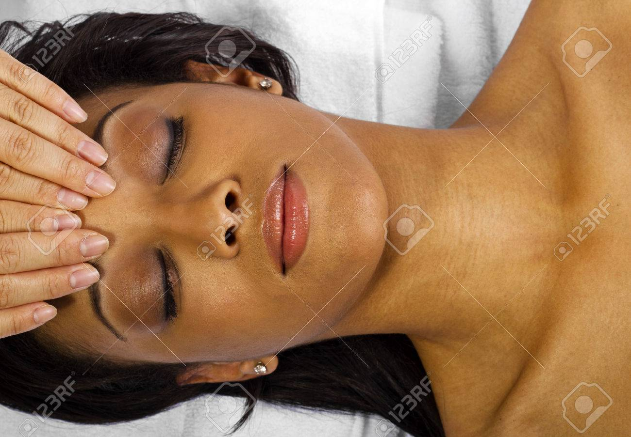young black female getting a head massage   facial Stock Photo - 24610074